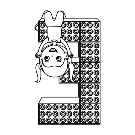 little girl with number three and toy pieces vector illustration design Standard-Bild - 126320622