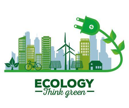 écologie, énergie solaire, dans, les, bâtiment, et, maison, vecteur, illustration