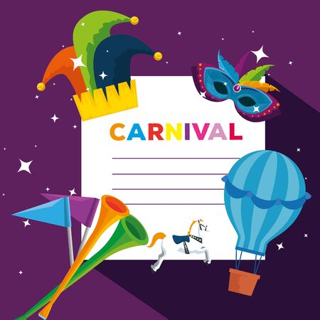 carnival card with joker hat and air balloon to festival celebration vector illustration