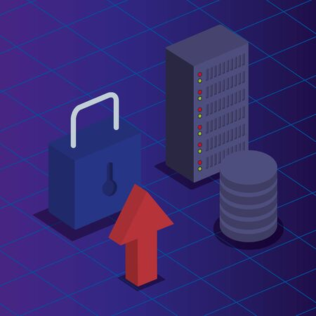 hard storage server with padlock security vector illustration