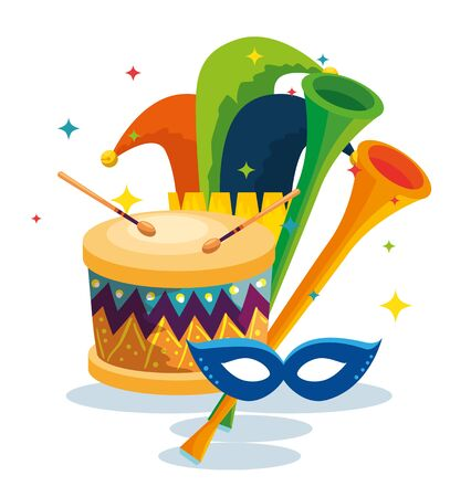 traditional drum with mask decoration and joker hat vector illustration