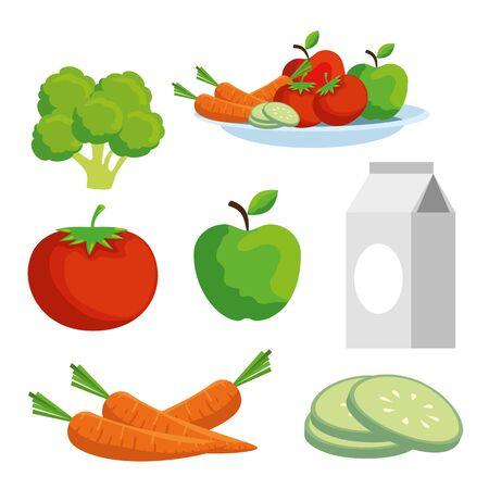définir les légumes et les fruits à l'illustration vectorielle de mode de vie santé