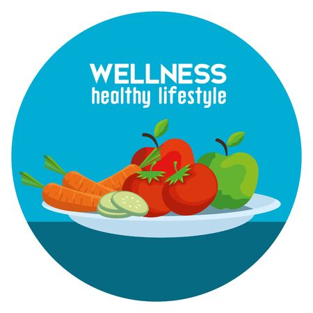 label with health vegetables and fruits to balance vector illustration