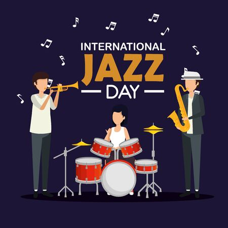 woman and men play instrument with music notes vector illustration
