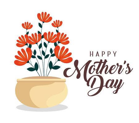 mother day celebration with flowers plants inside flowerpot vector illustration Illustration