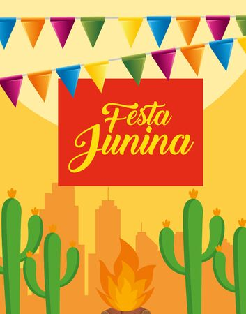 party banner with cactus plants and wood fire vector illustration Illustration