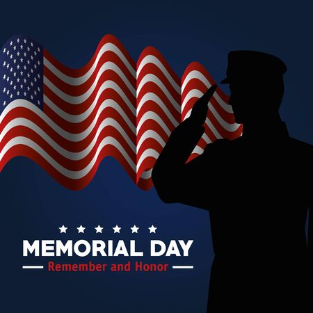 soldier with usa flag to celebrate memorial honor vector illustration