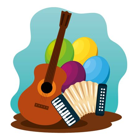 guitar with balloons and accordion to festa junina vector illustration
