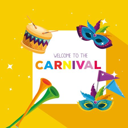 carnival card with masks decoration and trumpet vector illustration