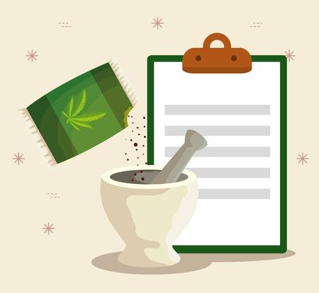 cannabis plant in the stone grinding crusher and check list vector illustration