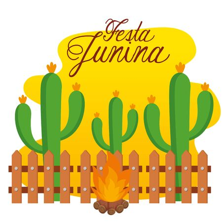 cactus plants with wood fire to festa junina vector illustration