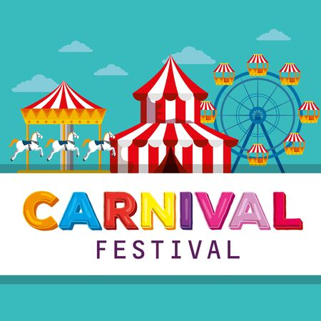 circus festival with merry go round and ferris wheel vector illustration
