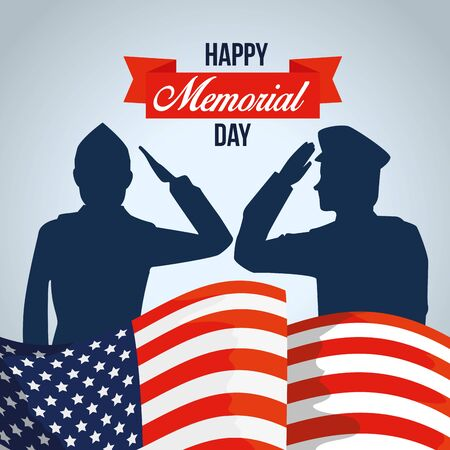 patriotic soldiers with usa flag and ribbon vector illustration