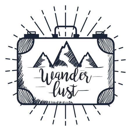 briefcase with snowy mountains landscape to wanderlust explorer vector illustration