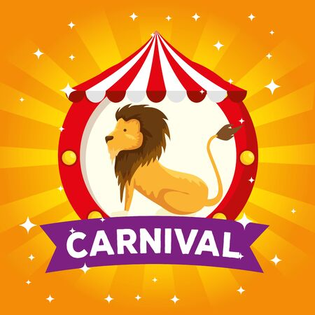 label of lion wild animal in the circus with carnival ribbon vector illustration