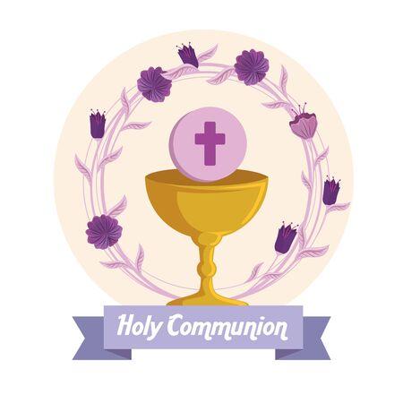 calice avec sainte hostie et fleurs à la première illustration vectorielle de communion Vecteurs