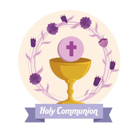 chalice with holy host and flowers to first communion vector illustration