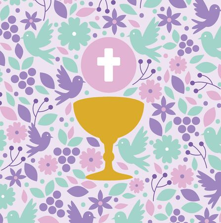 chalice with holy host to first communion vector illustration Illustration