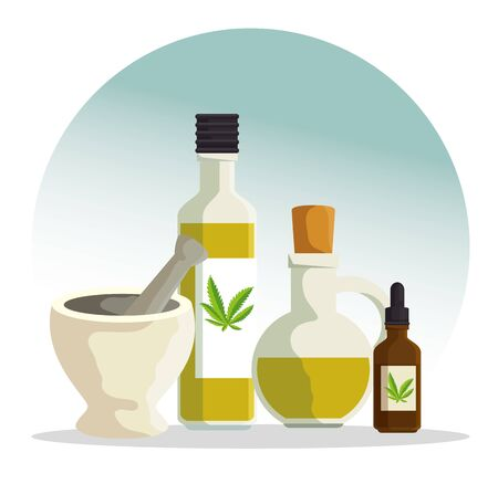 stone grinding crusher with cannabis oil in the bottles vector illustration