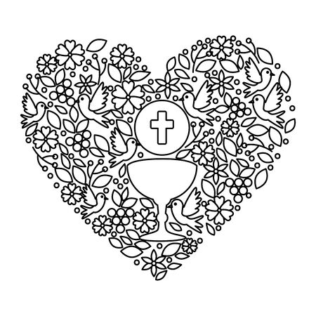 first communion in chalice with floral heart decoration vector illustration design Stock Illustratie
