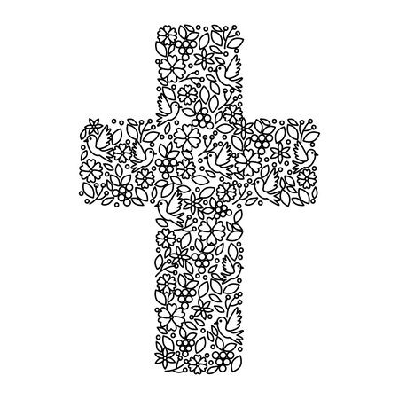 first communion cross floral decoration vector illustration design