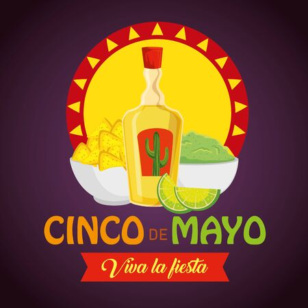 tequila with nachos and avocado sauce to event vector illustration