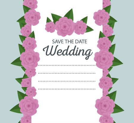 wedding card with roses and branches leaves vector illustration Illustration