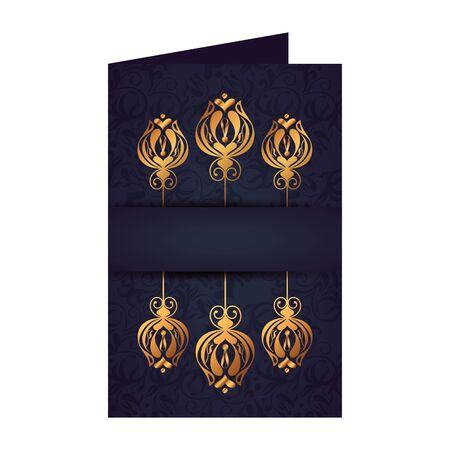 postcard with frame golden victorian style vector illustration design 일러스트