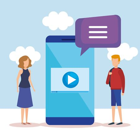 mini people with smartphone and speech bubble vector illustration Banque d'images - 126364743