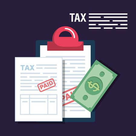service tax report with bill money vector illustration Vectores