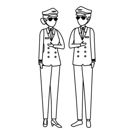 aviation pilots couple avatars characters vector illustration design Archivio Fotografico - 126367227
