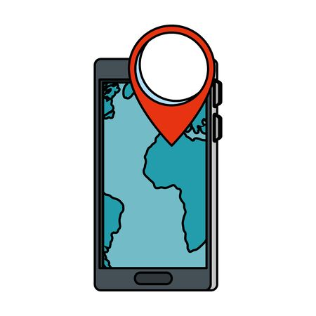 smartphone with pin gps app vector illustration design 矢量图像