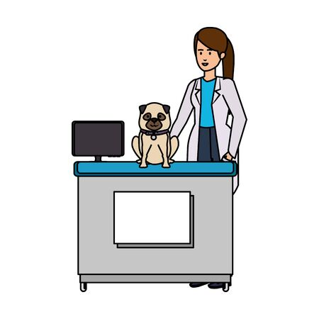 female veterinary with dog in the office vector illustration design Ilustracja