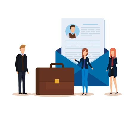 professional businesspeople with curriculum vitae and briefcase vector illustration