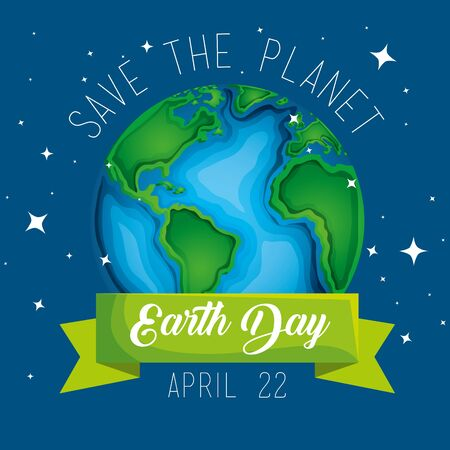 earth day celebration and planet with ribbon vector illustration