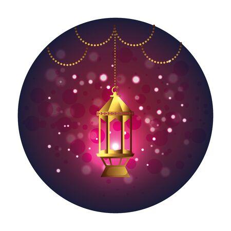 seal with ramadam karem golden lamp hanging vector illustration design Ilustración de vector