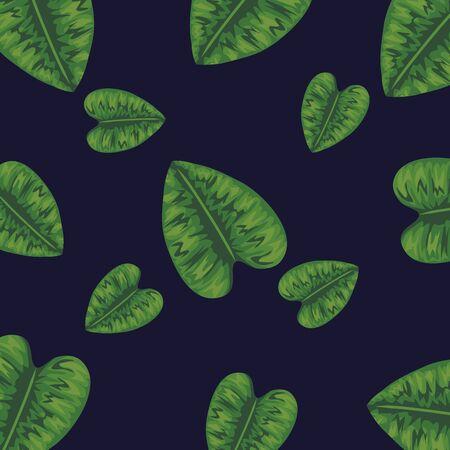 exotic leaves of nature plant background vector illustration Illustration