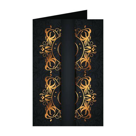 postcard with frame golden victorian style vector illustration design  イラスト・ベクター素材