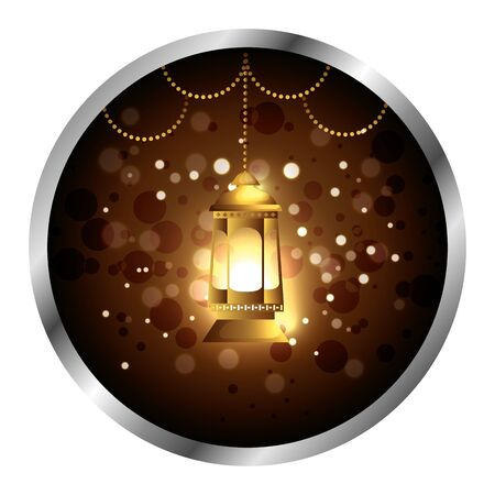 seal with ramadan kareem golden lamp hanging vector illustration design Illustration