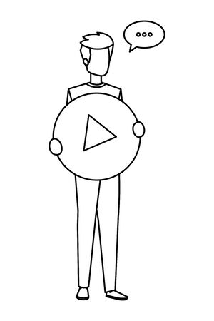 young man lifting play button with speech bubble vector illustration design