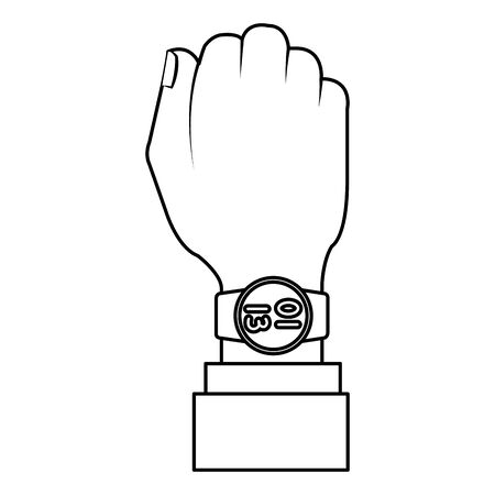 hand with smartwatch wearable technology vector illustration design