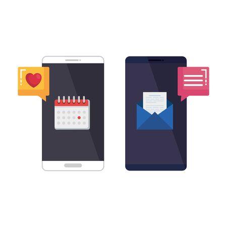 smartphones with social media app and calendar vector illustration design Illustration