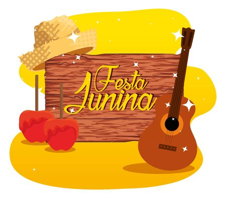 wood emblem with sweet apples and guitar vector illustration