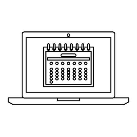 laptop with calendar date reminder vector illustration design