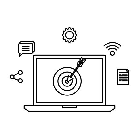 laptop with target and social media icons vector illustration design