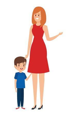 schöne Mutter mit kleinem Jungencharaktervektorillustrationsdesign