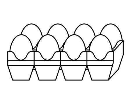 eggs carton packing healthy food vector illustration design