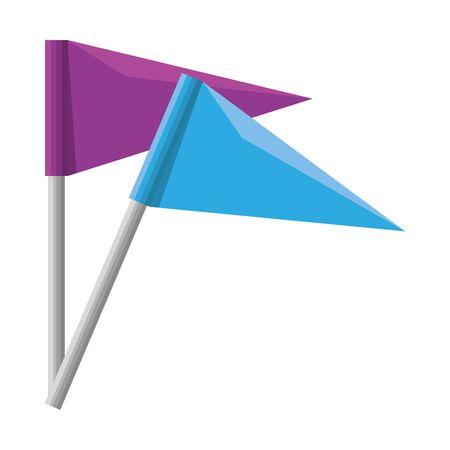 L'icône de marque potition drapeaux conception d'illustration vectorielle Vecteurs