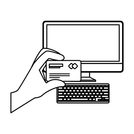desktop with hand using credit card ecommerce icon vector illustration design