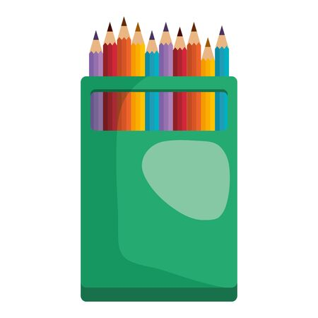 colors pencils box education icon vector illustration design